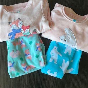 Carters Fleece Pajama Sets Lot sz 3T